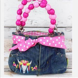 Mini Denim Jeans Bag w/Beaded Handles!